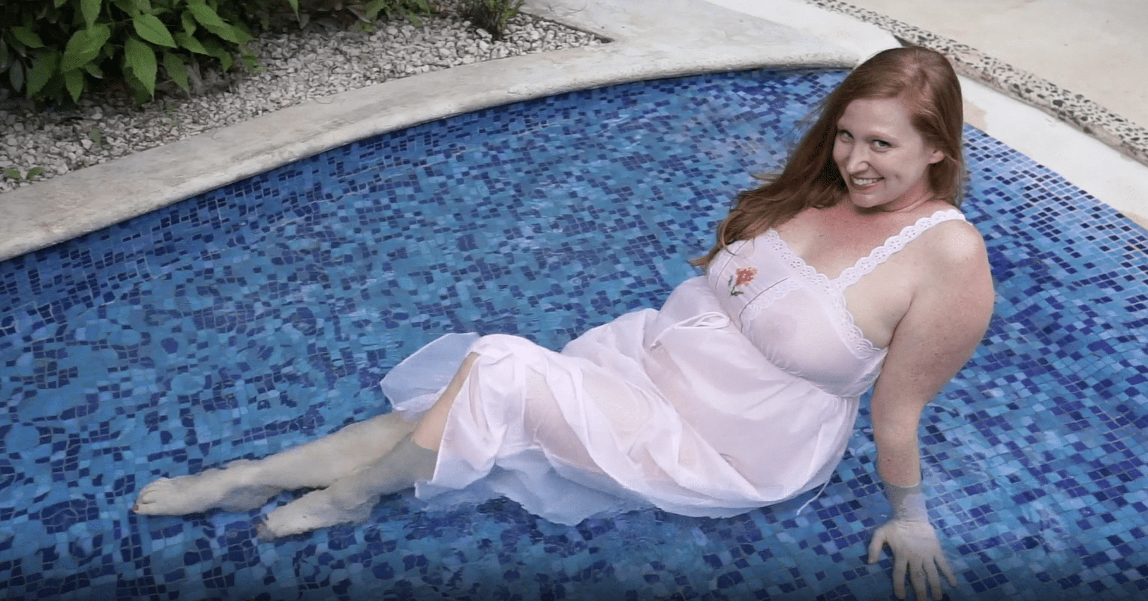 March 2021 | White Nightgown in the Pool