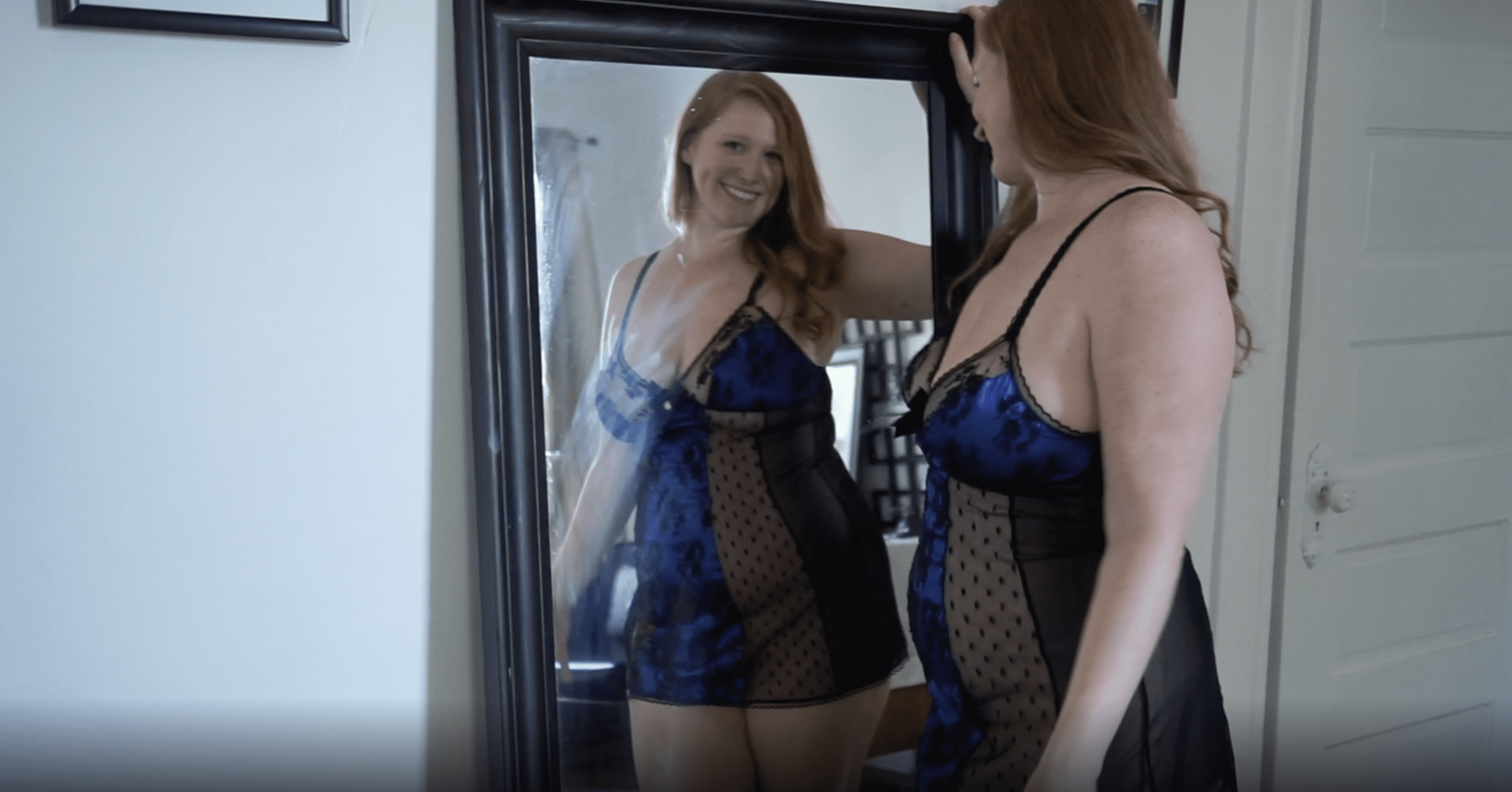 May 2021 | Black & Blue Lace Nightie in Front of Mirror