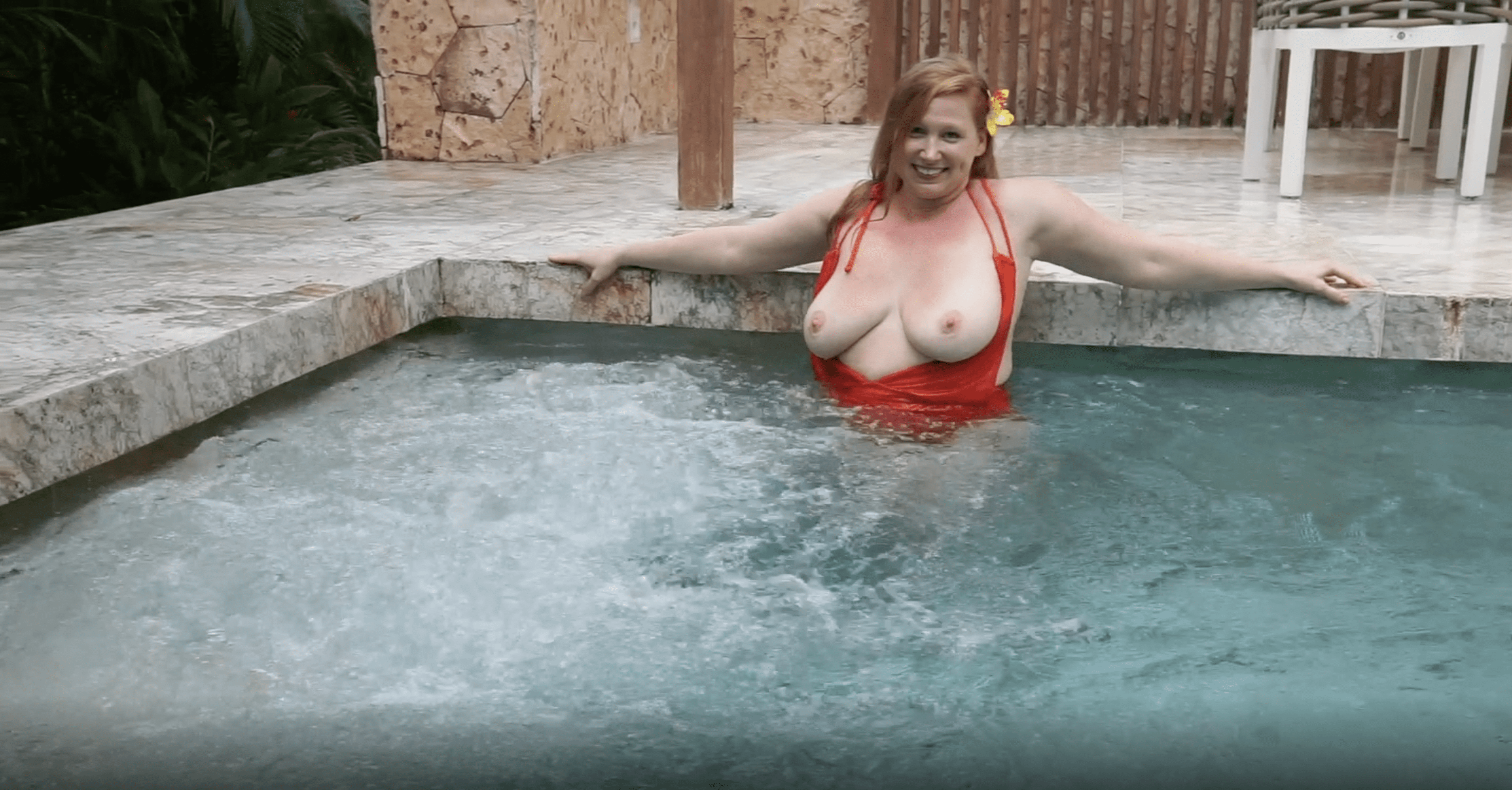 July 2021 | Red-Orange Swimsuit in Swimming Pool
